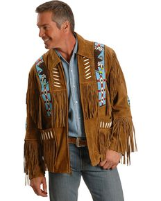 Liberty Wear Eagle Bead Fringed Suede Leather Jacket, Tobacco, hi-res