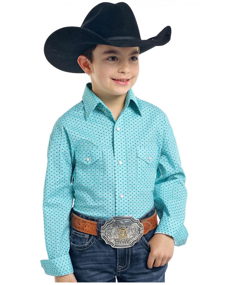 Rough Stock by Panhandle Boys' Lyman Vintage Print Long Sleeve Western Shirt , Turquoise, hi-res