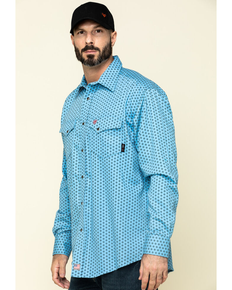 Ariat Men's FR Tungsten Geo Print Long Sleeve Work Shirt - Big , Blue, hi-res