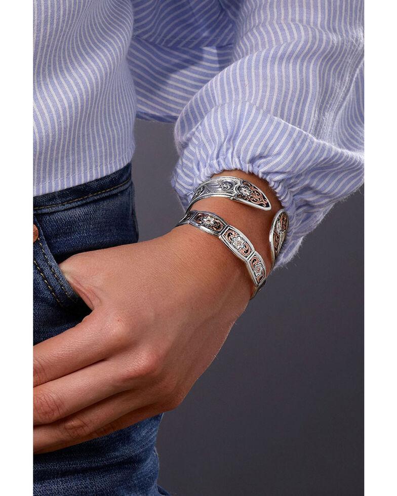 Montana Silversmiths Women's Classic Rose Gold Flower Swirl Cuff Bracelet, Multi, hi-res