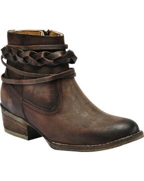 Circle G by Corral Women's Burnished Top Strap Western Booties, Brown, hi-res