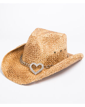 Shyanne Youth Girls' Corazon Heart Attack Cowgirl Hat, Brown, hi-res