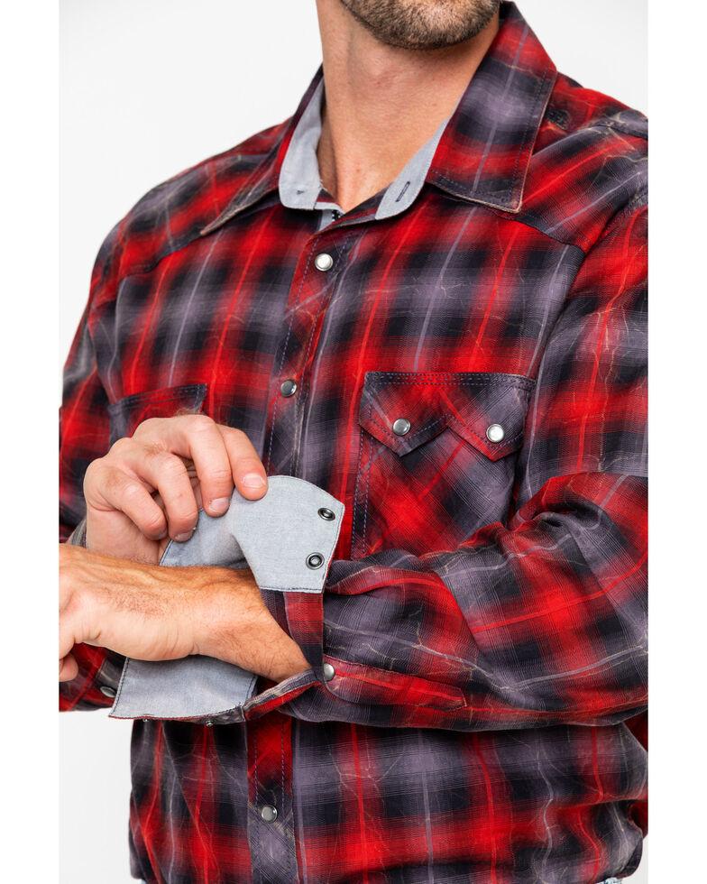 Rock & Roll Cowboy Men's Yarn Dye Satin Plaid Long Sleeve Western Shirt , Red, hi-res