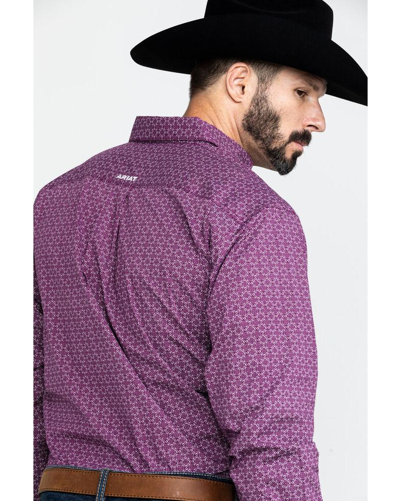 Ariat Men's Airheart Stretch Geo Print Long Sleeve Western Shirt , Purple, hi-res
