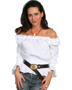 Scully Women's Romantic Peasant Blouse, White, hi-res