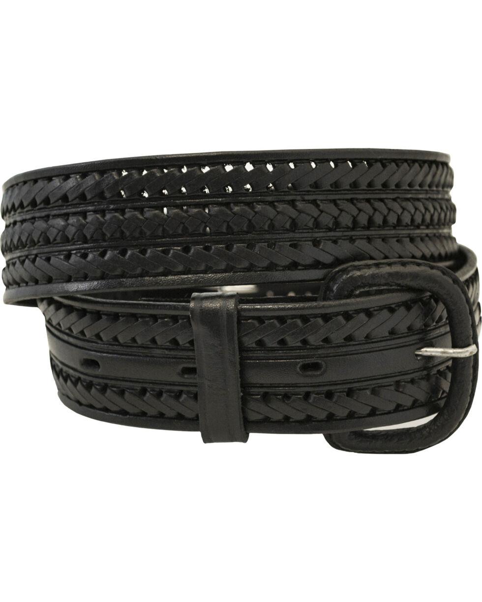 Western Express Men's Braided Leather Belt , Black, hi-res