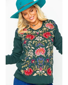 Johnny Was Women's Simona Long Sleeve Thermal Top, Dark Green, hi-res