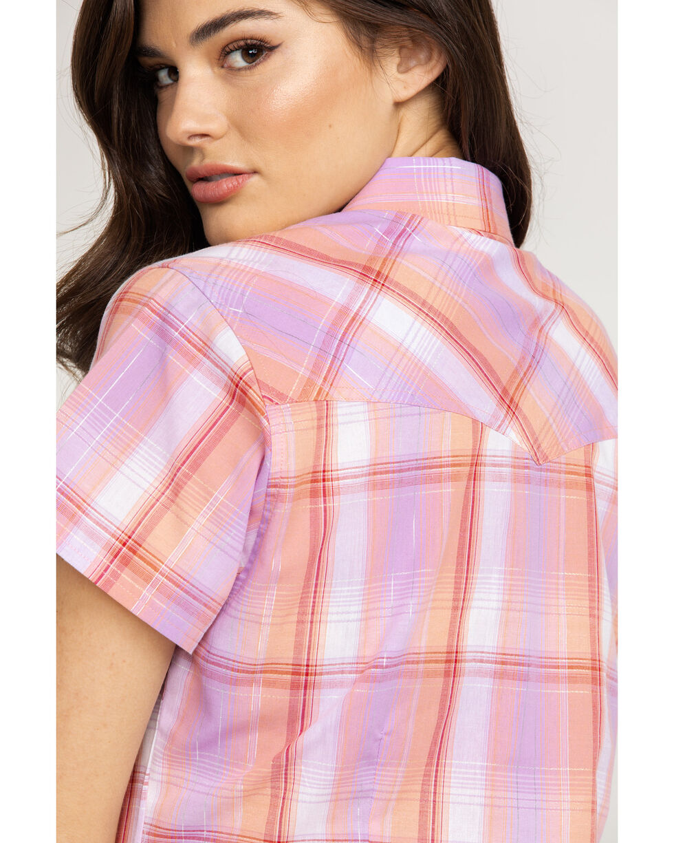 Cumberland Outfitters Women's Peach Plaid Snap Short Sleeve Shirt , Peach, hi-res