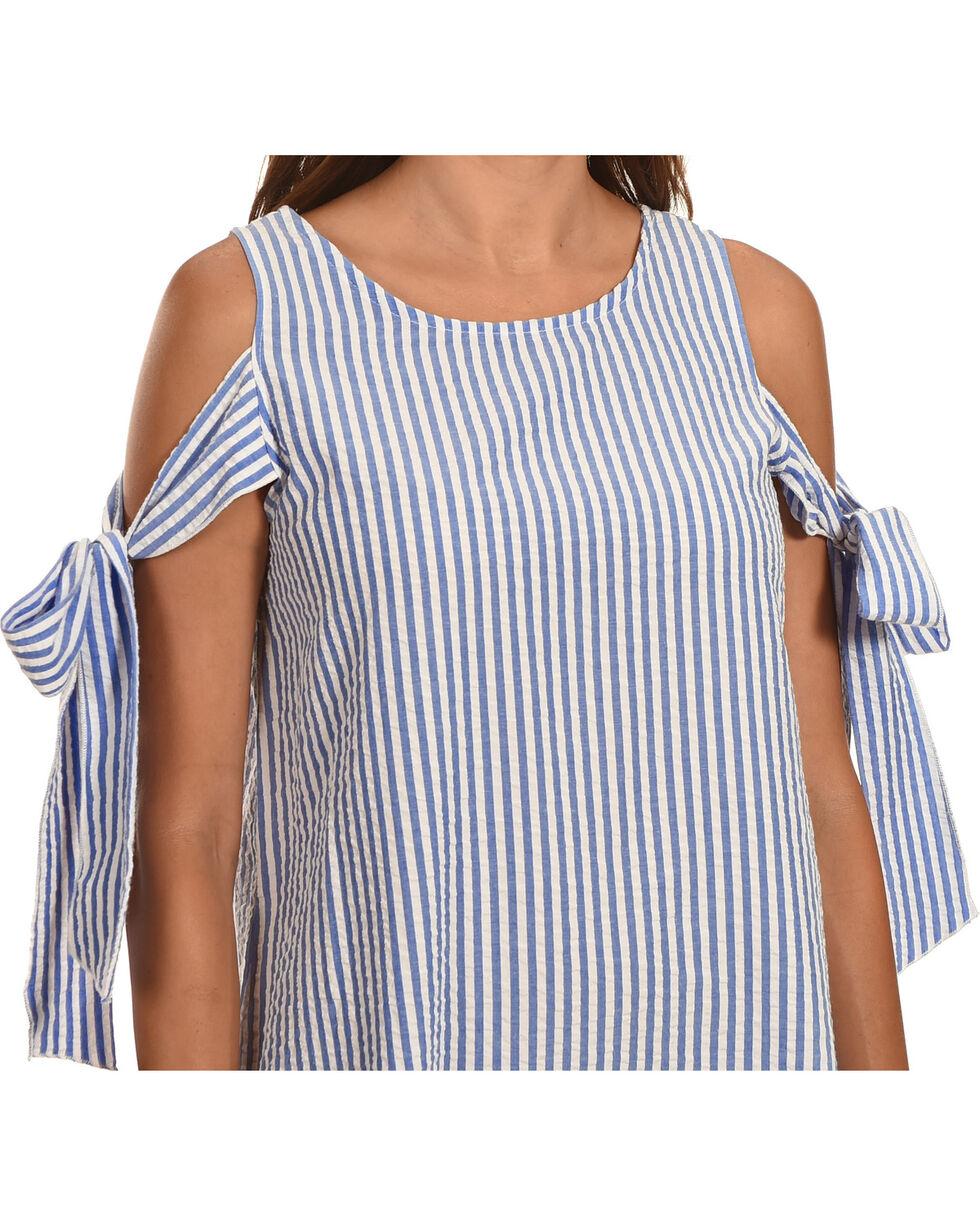 Ces Femme Women's Blue Tie Cold Shoulder Shift Dress , Blue, hi-res