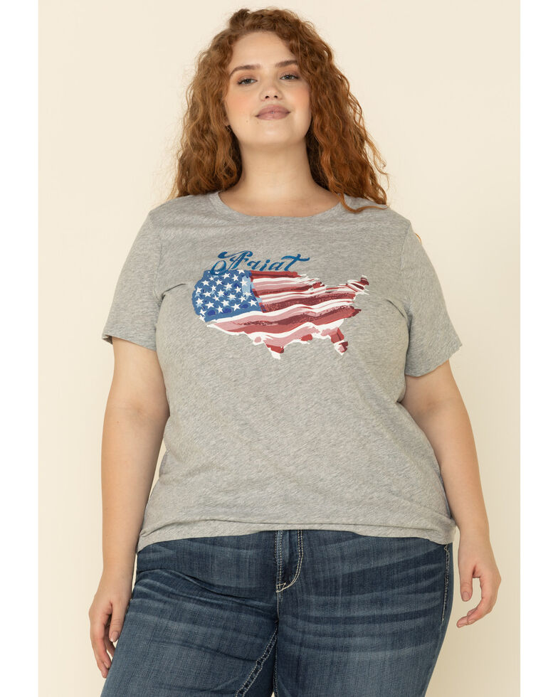 Ariat Women's R.E.A.L. Heather Grey Painted States Tee - Plus, Grey, hi-res