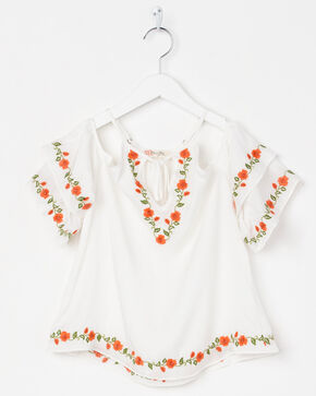 Miss Me Girls' Floral Bliss Top, White, hi-res
