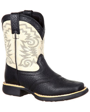 Durango Boys' Lil' Mustang Western Saddle Boots - Square Toe, Black, hi-res
