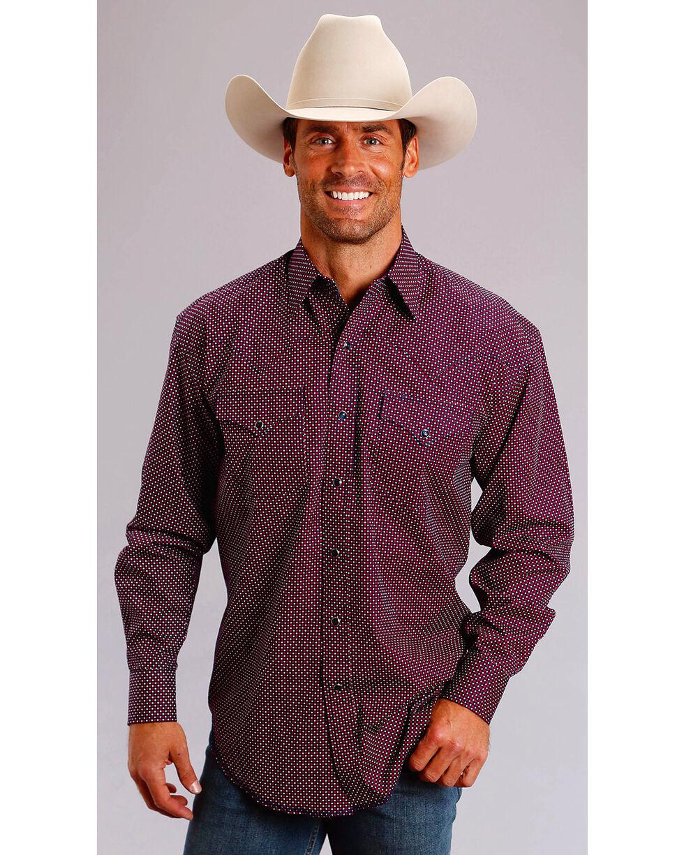 Stetson Men's Four Dot Foulard Long Sleeve Snap Shirt, Wine, hi-res