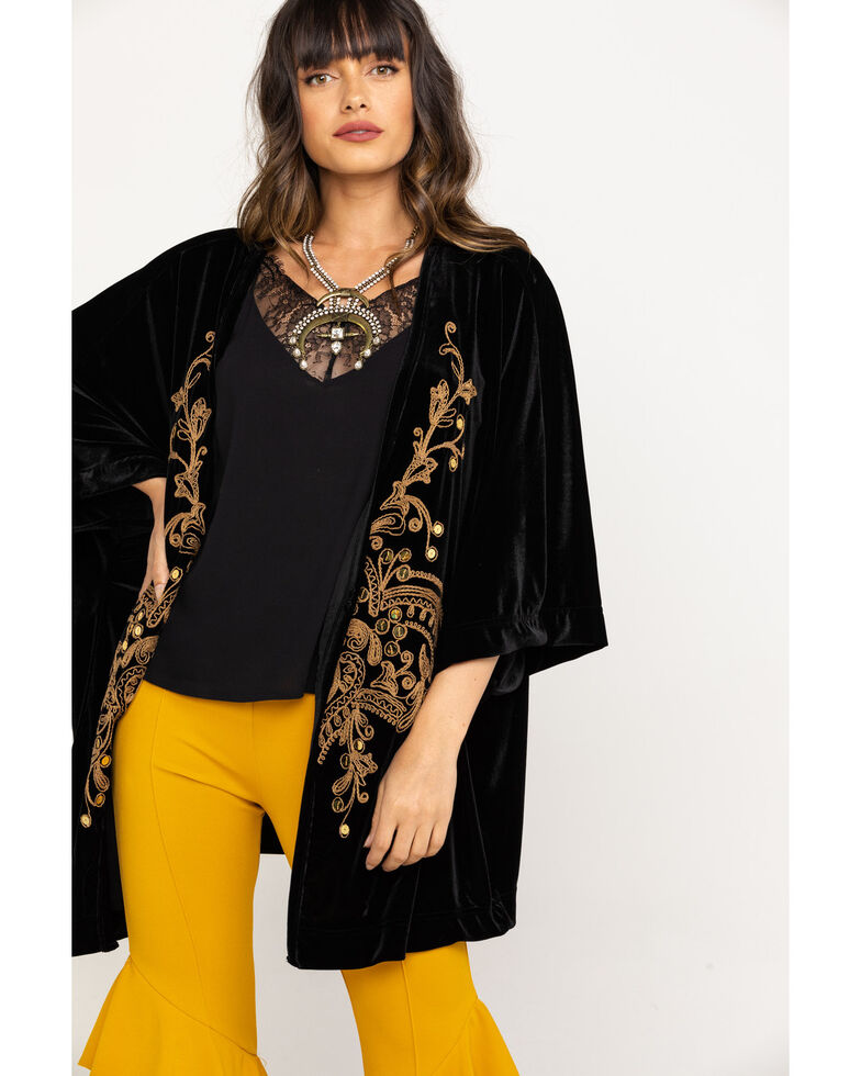 White Label by Panhandle Women's Gold Embroidered Velvet Kimono, Black, hi-res