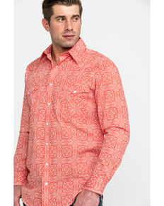 Rough Stock by Panhandle Men's Mirada Vintage Print Long Sleeve Western Shirt , Dark Orange, hi-res