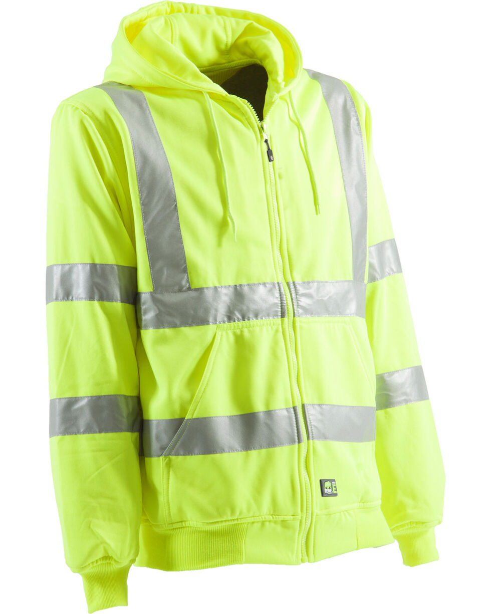 Berne Yellow Hi-Visibility Lined Hooded Jacket - 5XL and 6XL, Yellow, hi-res