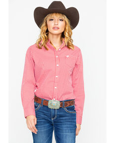 George Strait by Wrangler Women's Red Geo Print Long Sleeve Western Shirt, Red, hi-res