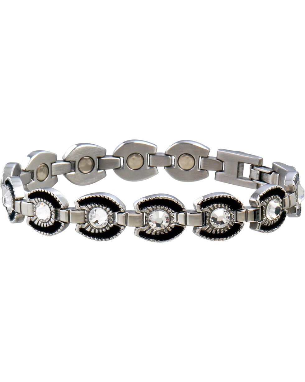 Sabona Ladies' Crystal Horseshoe Link Magnetic Bracelet, Two Tone, hi-res
