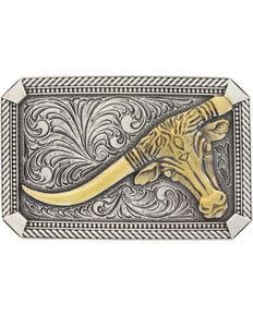 Montana Silversmiths Men's Silver Leaning Steer Belt Buckle , Silver, hi-res