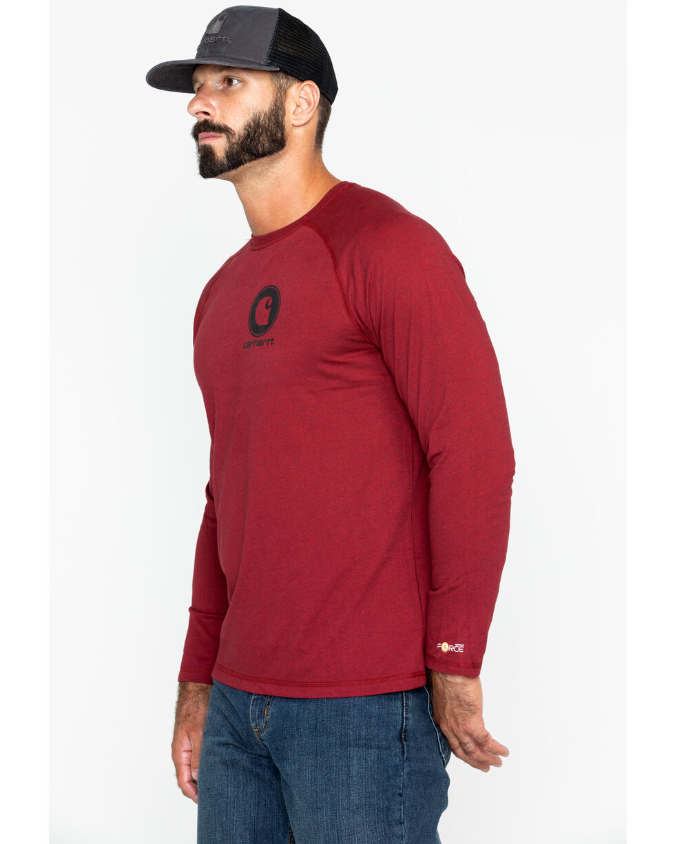 Carhartt Men's Force Cotton Delmont Graphic Work Shirt, Red, hi-res