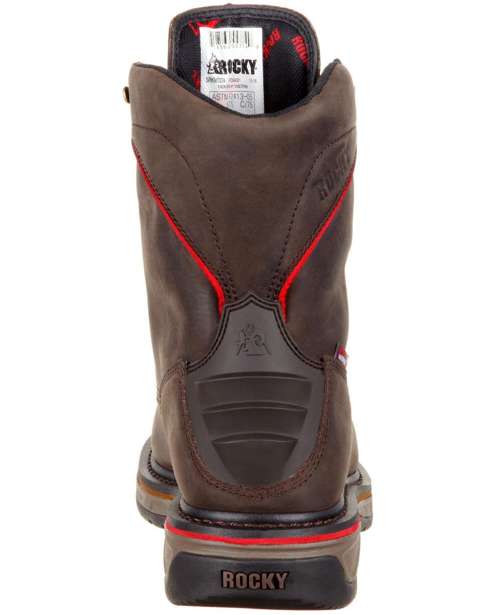 "Rocky Men's Iron Skull Waterproof 8"" Western Work Boots - Safety Toe, Dark Brown, hi-res"