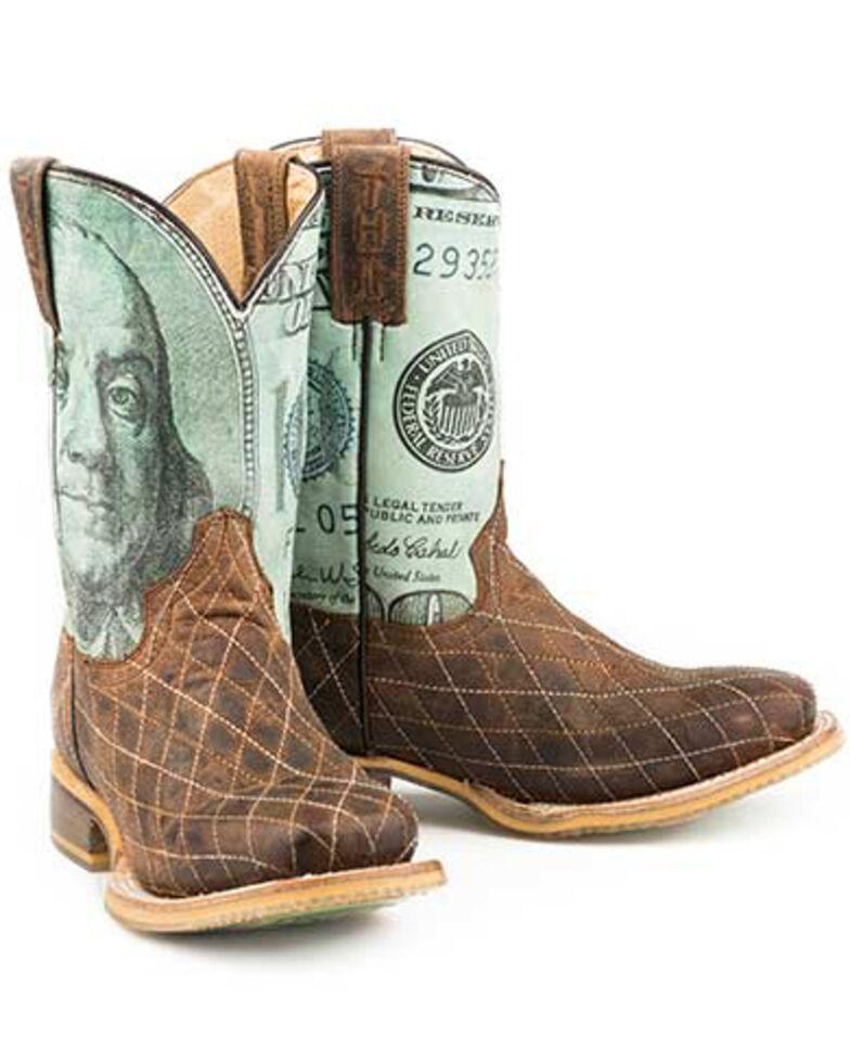 Tin Haul Youth Boys' Money Western Boots - Square Toe, Tan, hi-res