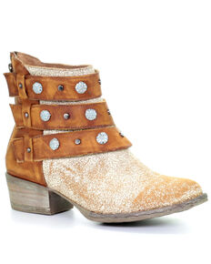 Corral Women's Camel Harness Fashion Booties - Round Toe, Brown, hi-res