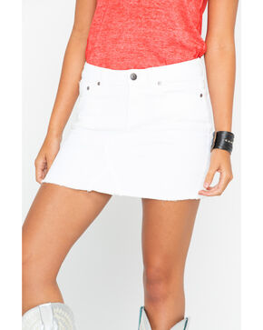 Shyanne Women's White Denim Skirt, White, hi-res