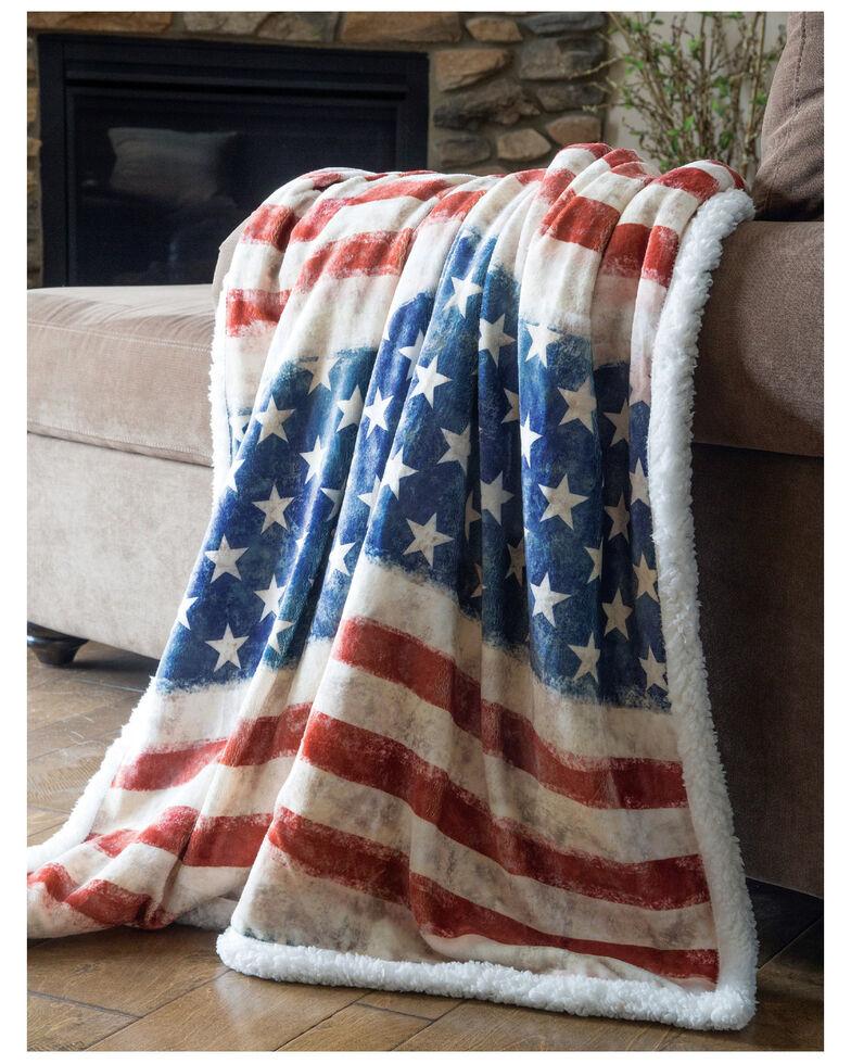 Carstens Home Wrangler Stars & Stripes USA American Flag Sherpa Fleece Throw Blanket , Blue, hi-res