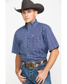 Ariat Men's Octavio Aztec Print Short Sleeve Western Shirt - Big & Tall , Blue, hi-res