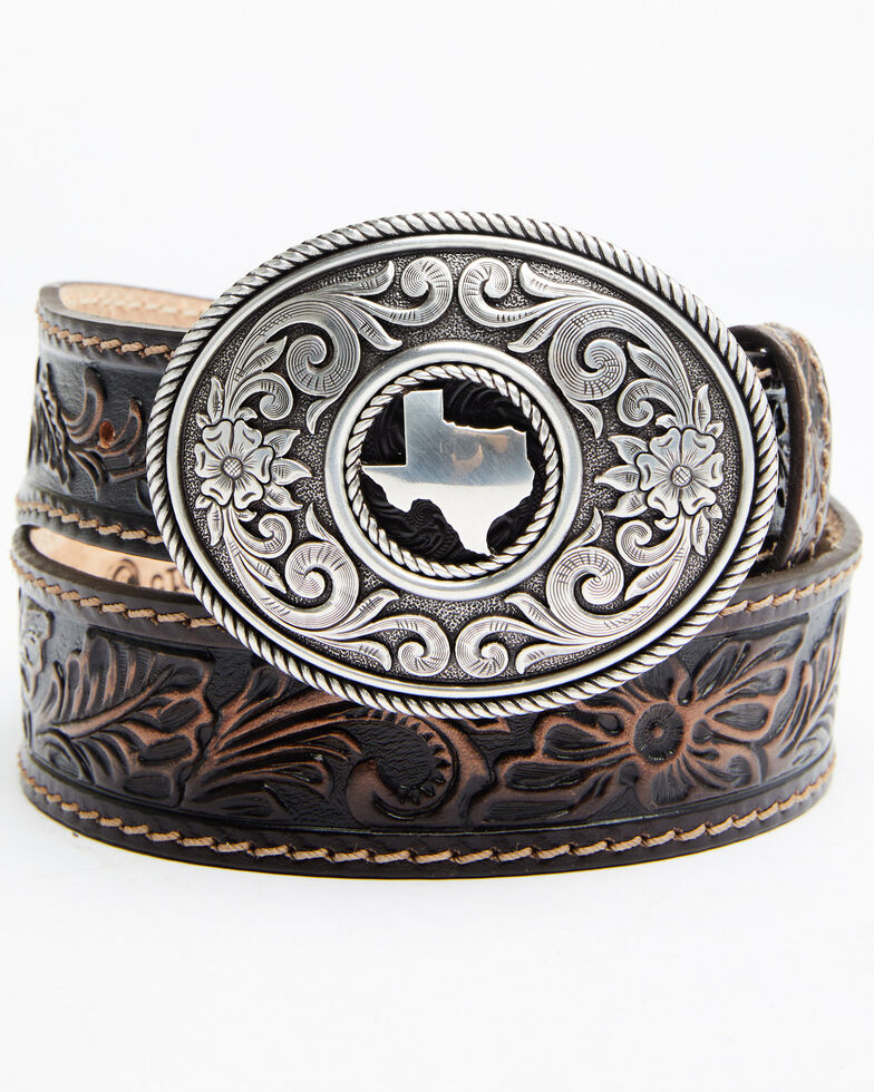 Leegin Men's Triple T Ranch Belt, Brown, hi-res