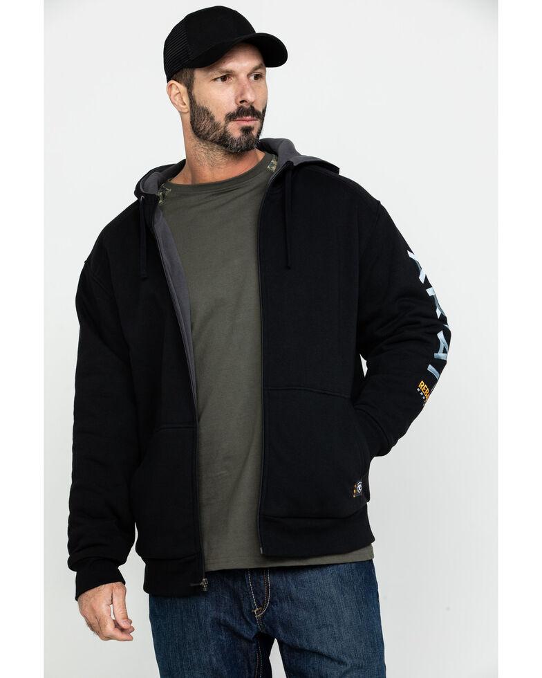 Ariat Men's Rebar All-Weather Full Zip Work Hooded Sweatshirt - Big & Tall , Black, hi-res