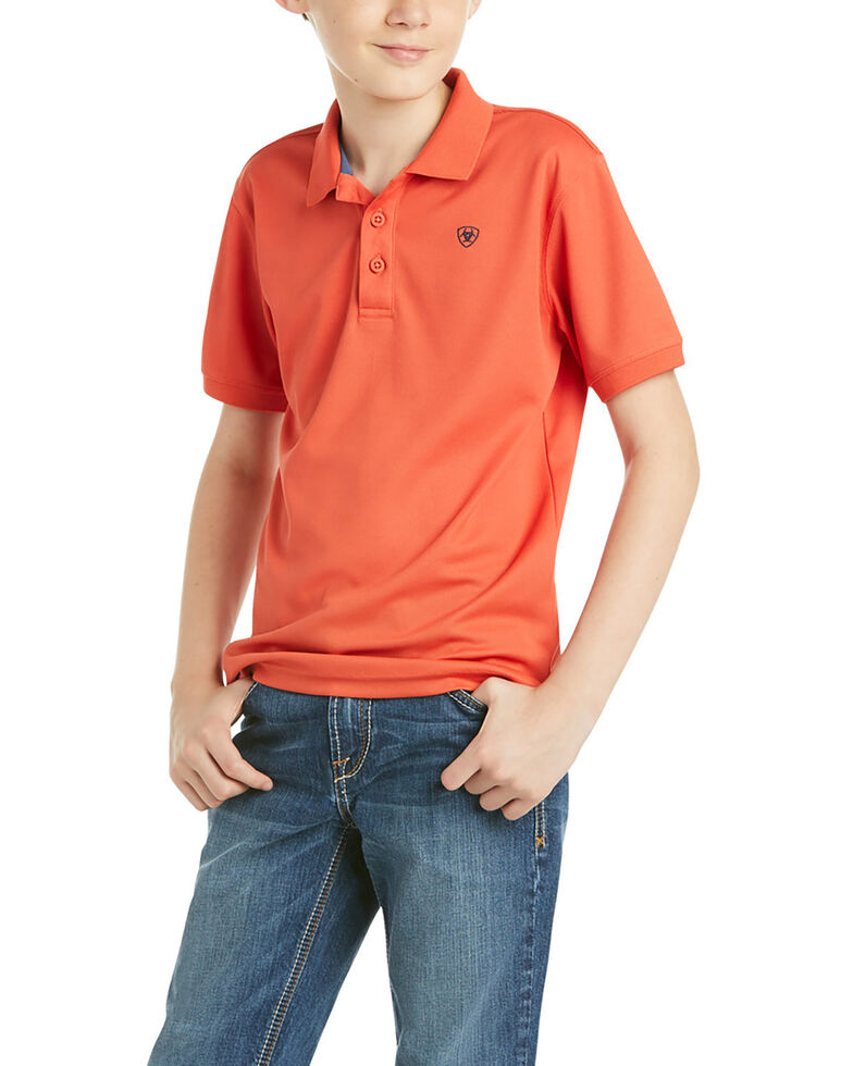 Ariat Boys' Solid Orange TEK Short Sleeve Polo Shirt , Orange, hi-res