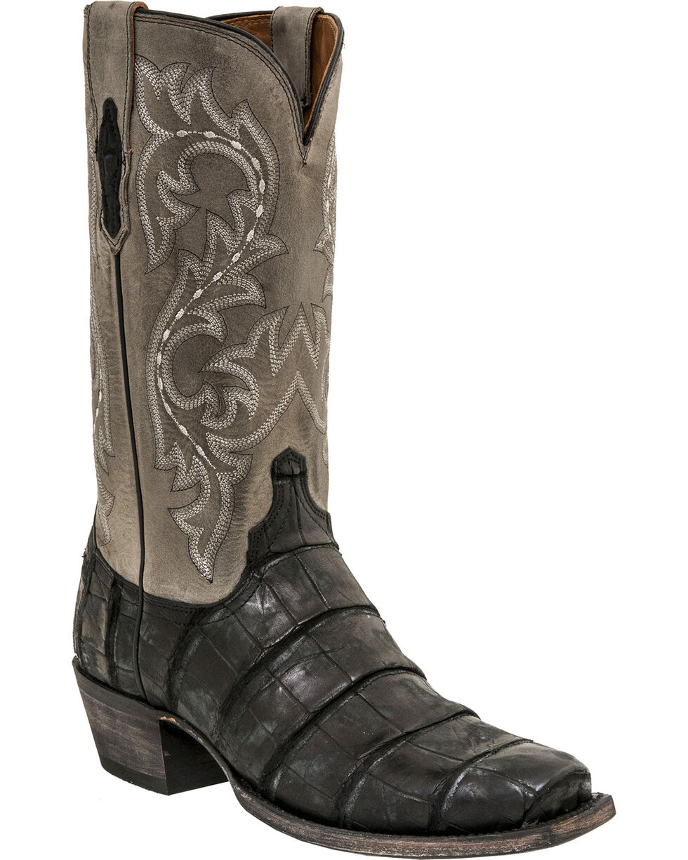 Lucchese Men's Burke Alligator Exotic Boots, Black, hi-res