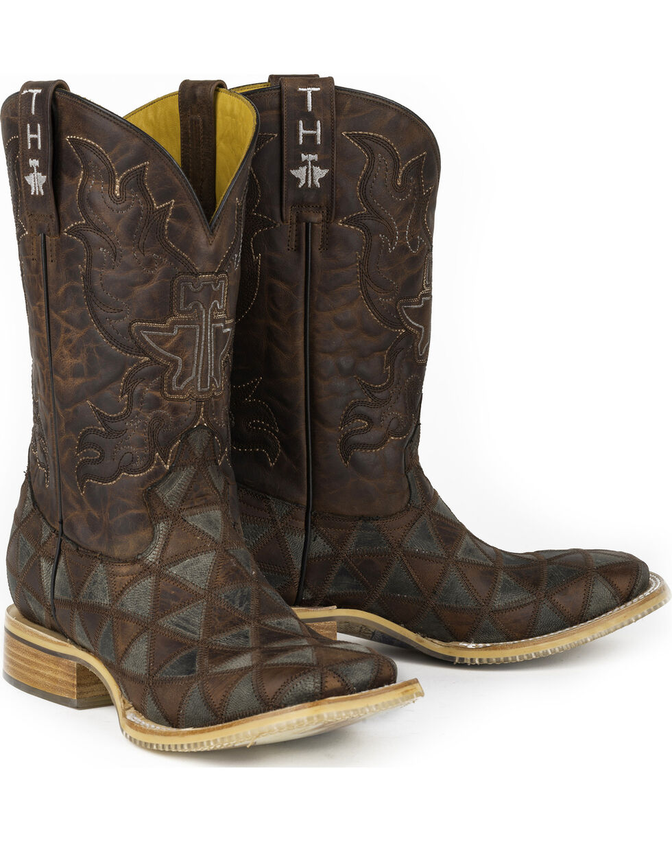 Tin Haul Men's Triangles Cowboy Boots - Square Toe, Brown, hi-res