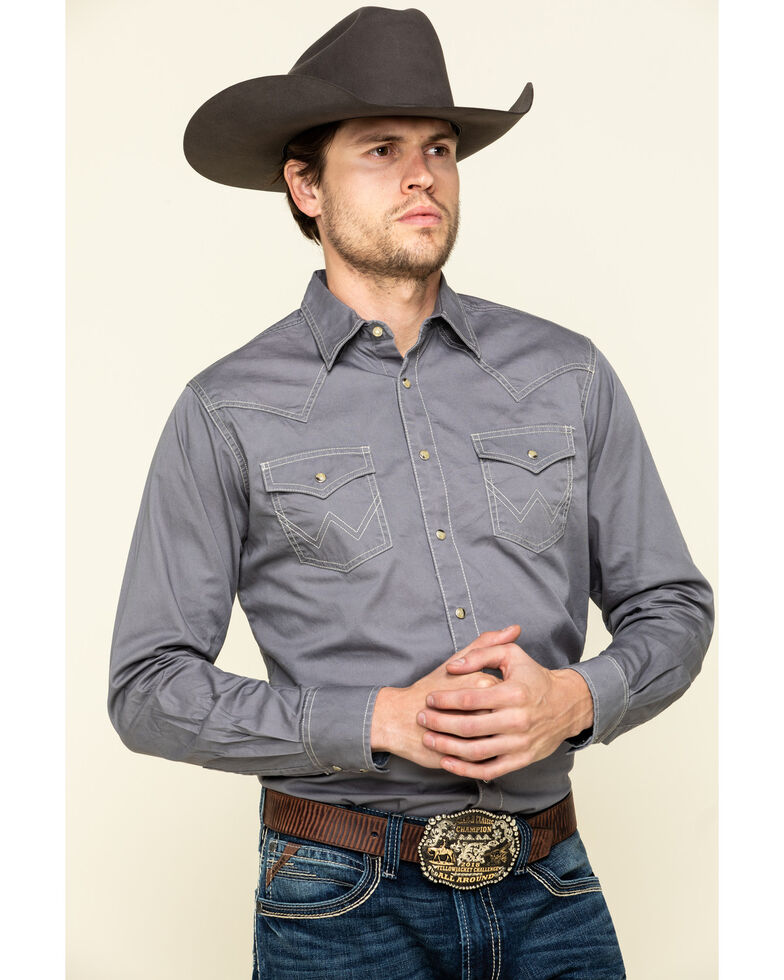 Wrangler Retro Men's Premium Grey Solid Long Sleeve Western Shirt , Grey, hi-res