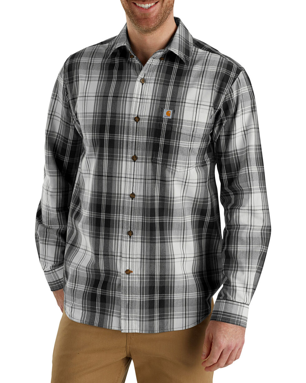 Carhartt Men's Essential Plaid Button-Down Shirt , Black, hi-res
