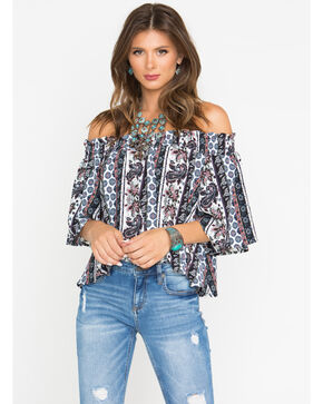 Shyanne Women's Off-Shoulder Floral Paisley Top, White, hi-res