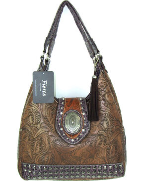 Savana Women's Fierce Tooled Design Conceal Carry Purse , Brown, hi-res