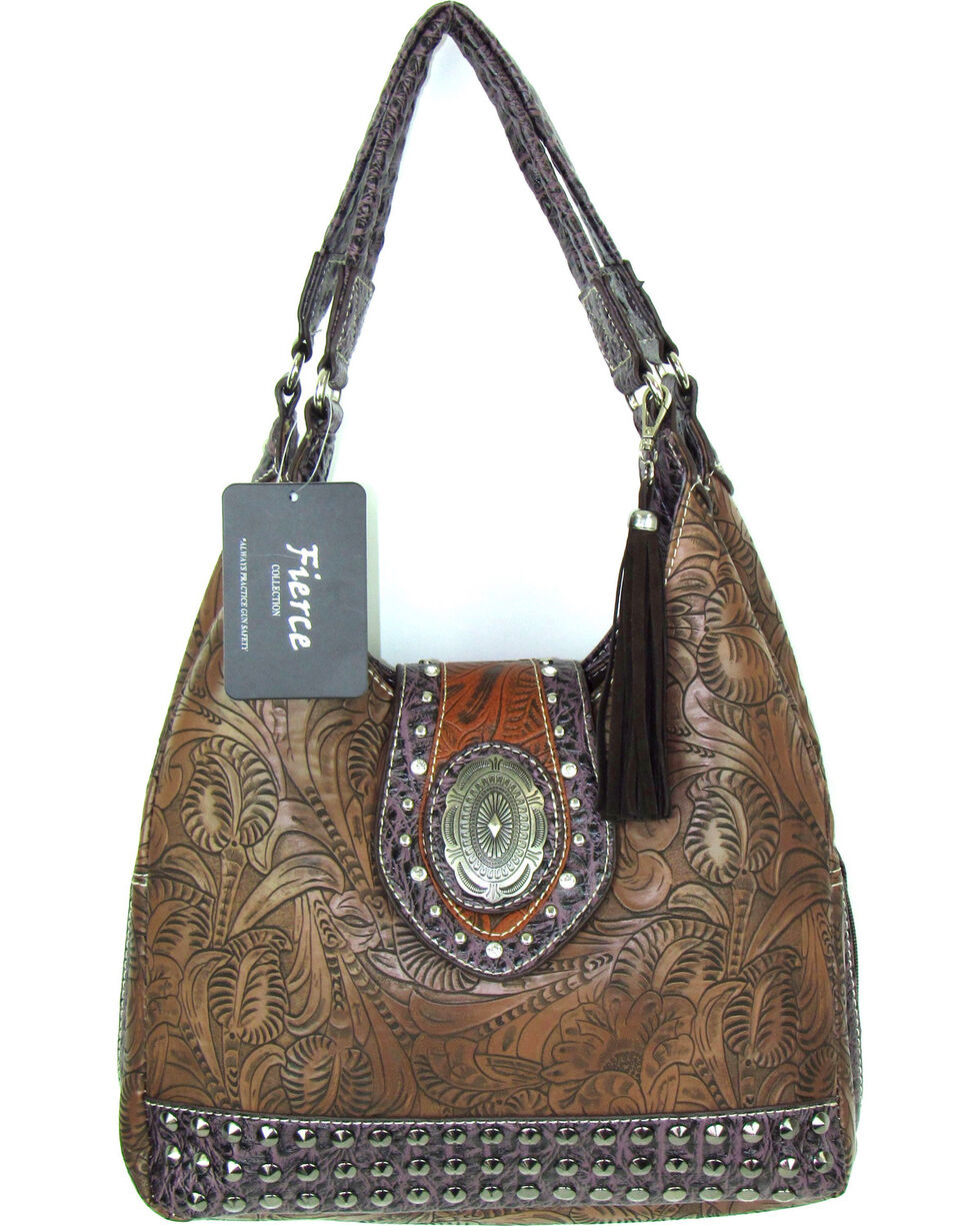 Savana Women's Fierce Tooled Design Conceal Carry Purse , , hi-res