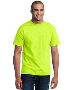 Port & Company Men's Safety Green Core Blend Pocket Short Sleeve Work T-Shirt - Tall, Green, hi-res