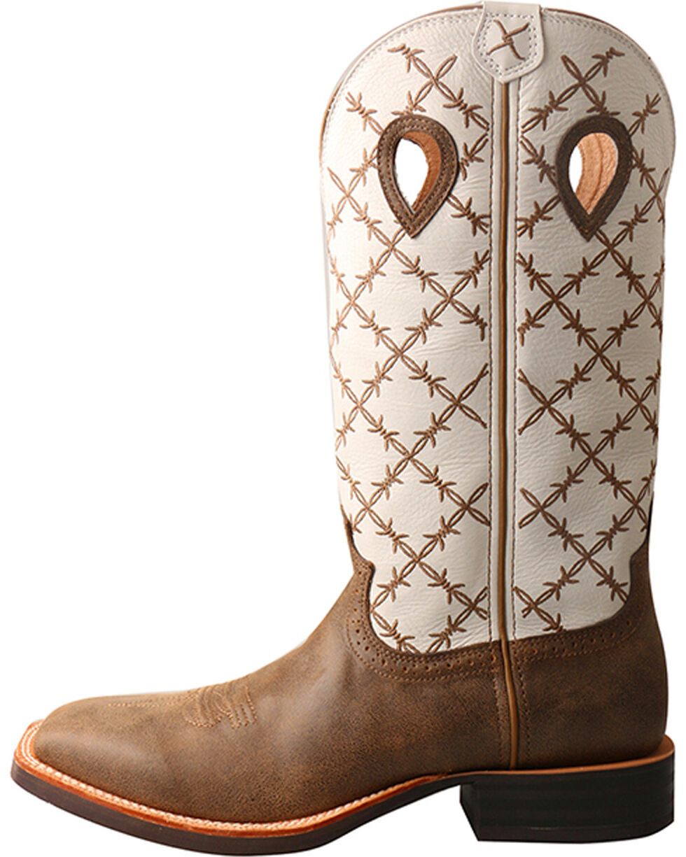 "Twisted X Men's 14"" Ruff Stock Boots - Square Toe, Brown, hi-res"