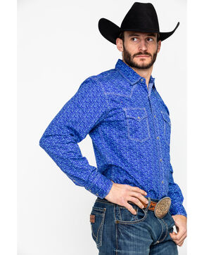 Wrangler 20X Men's Print Long Sleeve Western Shirt , Purple, hi-res