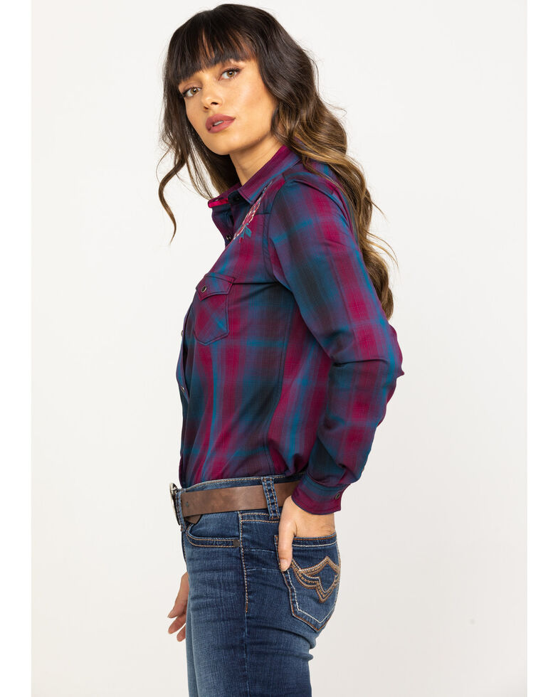 Rough Stock by Panhandle Women's Floral Embroidered Plaid Long Sleeve Western Shirt, Wine, hi-res