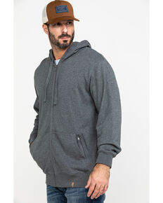 Wrangler Riggs Men's Grey Terry Solid Full Zip Work Hooded Jacket , Heather Grey, hi-res