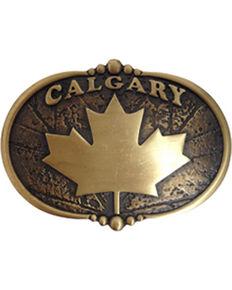 AndWest Vintage Bronze Calgary Maple Leaf Belt Buckle, Brass, hi-res