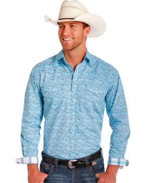 Rough Stock by Panhandle Men's Light Blue Geo Print Shirt , Grey, hi-res