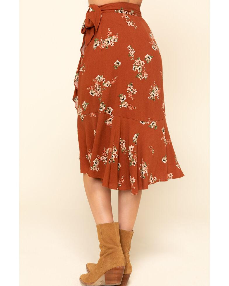 Shyanne Women's Brown Floral Wrap Midi Skirt , Brown, hi-res