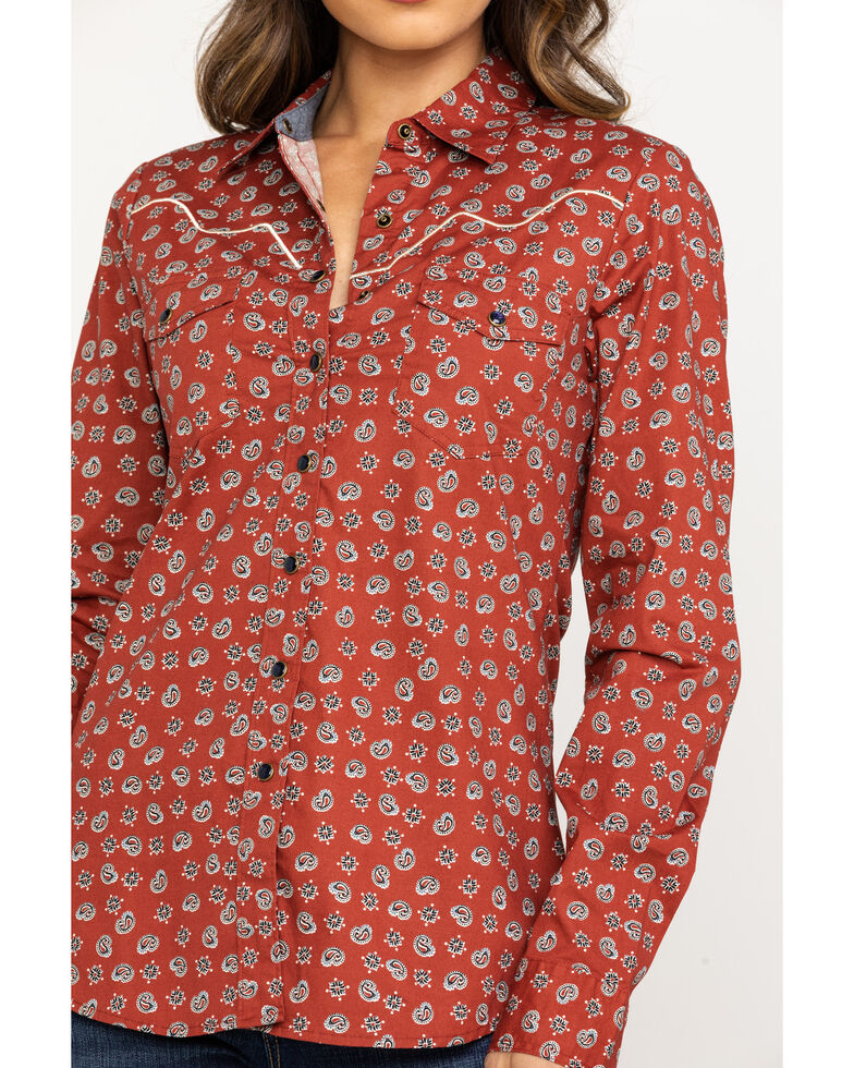 Shyanne Life Women's Rust Paisley Long Sleeve Riding Shirt, Rust Copper, hi-res