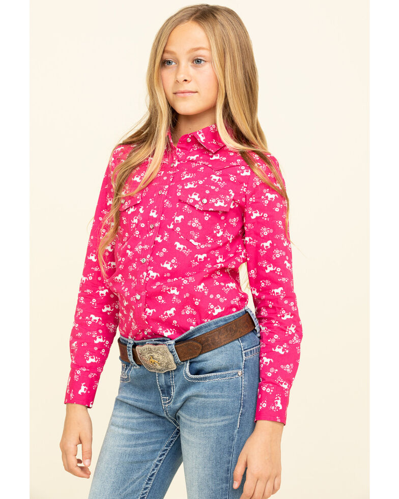 Shyanne Girls' Pink Horse Print Snap Long Sleeve Western Shirt, Pink, hi-res